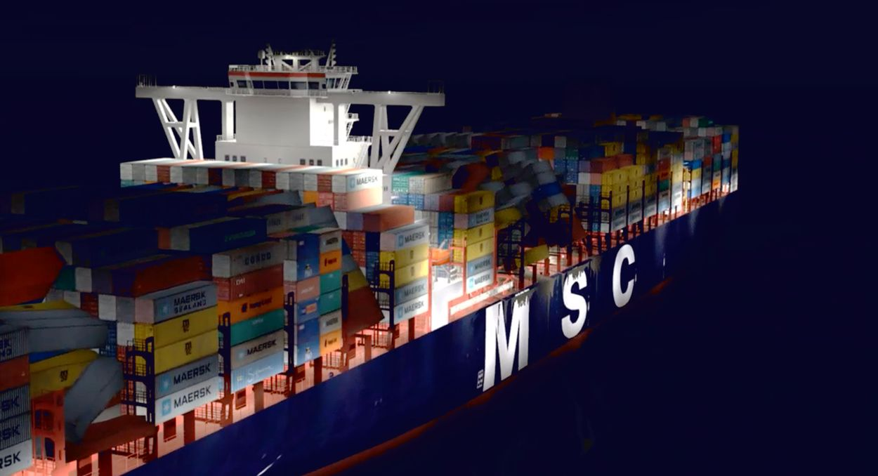 Afbeelding van 'Schip MSC Zoe raakte boven de Wadden de zeebodem'